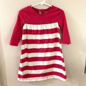 Dark pink and white striped long sleeve gap dress